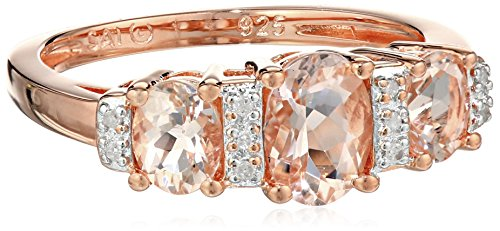 Rose Gold-Plated Sterling Silver, Morganite, and Diamond-Accented Ring, Size 7