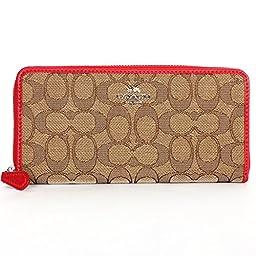 Coach Outline Signature Accordion Zip Around Wallet 53539 Khaki/Classic Red