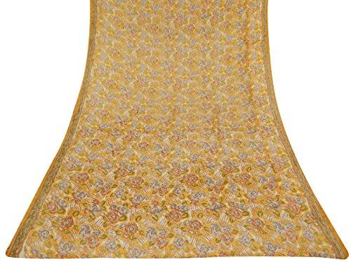vintage-indian-saree-100-soie-pure-white-feuille-imprime-sari-craft-tissu-5-jardin