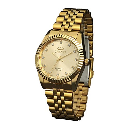 Fq-043 Classic Design Golden Stainless Steel Band Male Crystals Quartz Wrist Watches for Man Gold (Gold Watch With Crystals compare prices)