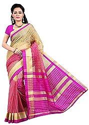 Veer Prabhu Creation Women's Cotton Saree with Blouse Piece (Pink)