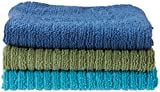Ritz 16 by 19-Inch Solid Microfiber Bar Mop Towel, Blue/Green, 3-Pack