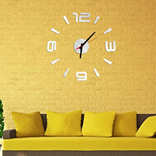 DaySeventh 3D DIY Wall Clock Mirror Surface Sticker Modern Home Office Decor (Gold)