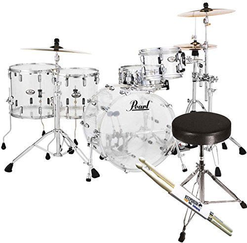 pearl-crb524fp-c730-crystal-beat-shell-acrylic-ultra-clear-keepudrum-stool-and-sticks