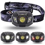 【Sunix】 ハイパワー LEDヘッドライト 2000mAhのリチウム充電電池、長いバッテリ寿命【明るさ120ルーメン/実用点灯10時間】【完全防水】【調光モード、夜間モード、ストロボモード】夜の作業 夜釣り キャンプなどのアウトドア活動に適用 (ブラック)LD413