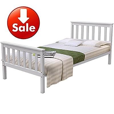 Popamazing White Pine Single Bed Frame 3ft Single Beds Wood Bed Base for Kids/Child/Children