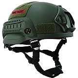 OneTigris アウトドア エアソフトヘルメット米軍風  MICH 2002多機能サバゲーヘルメット マウントレール付き ABS製 かっこいいヘルメット オリジナル (ミリタリーグリーン)