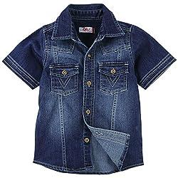 Oye Boys Solid Denim Half Sleeve Shirt - Blue (2-3Y)