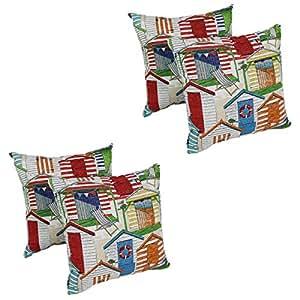 Amazon.com: Nautical Throw Pillows Set of 4 Cabana Beach Hut 17 x 17