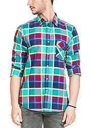 Zovi Cotton Slim Fit Aqua Blue & Pink Checkered Casual Shirt(12032704801_Large)