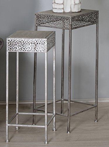 Beistelltisch-Dory-Metall-antik-silber-Holz-2tlgSet