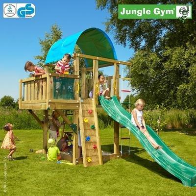 Jungle Gym Laras VILLA - Spielturm Set mit Balkon und Rutsche - Grün