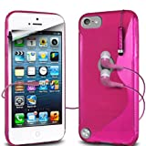 Fone-Case Apple iPod Touch 5, 5th Generation Protective Hydro S Line Wave Gel Silicone Skin Case Cover With 3.5mm In Ear Earphones & (3 Pack) LCD Screen Protector Guards (Hot Pink)