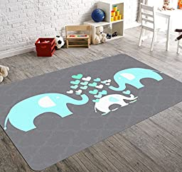 HawkerPeddler Elephant Nursery Decor Kids Room Non-Slip Grey and Blue 5ft x 4ft Thin Rug
