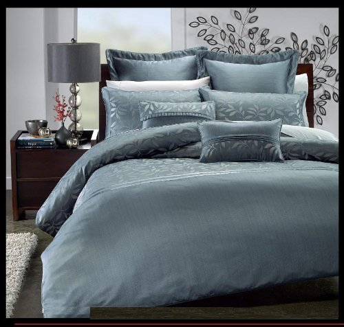 Royal Hotel Collection Veronica 7 Pieces Blue King/ Cal King Duvet Cover Set