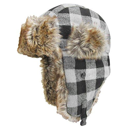 igloos-mens-wool-blend-trapper-hat-gray-plaid-medium-large-60cm