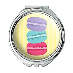 French Macaroon Cookie Compact Purse Mirror