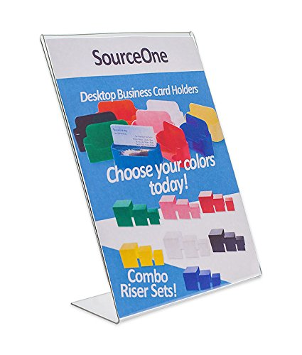 Source One 8.5 X 11 Inches Thick Acrylic Slant Back Sign Holder Ad Frame, Clear Acrylic (SB-85X11)