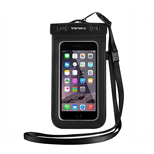 Custodia Impermeabile, Vansky® Borsa Impermeabile Cellulare universale, Smartphone Impermeabile Waterproof Custodia, Case impermeabile per iPhone 6s/ 6s plus/ 6/ 6 plus/ 5s/ 5c/ 5, Samsung s6/ s6 edge/ s5/ s4, ed altri Smartphone, ecc; Toccare Responsive trasparente di Windows; Durable Waterproof Bag, ecologico TPU costruzione e IPX8 certificato a 100 Feet (nero)