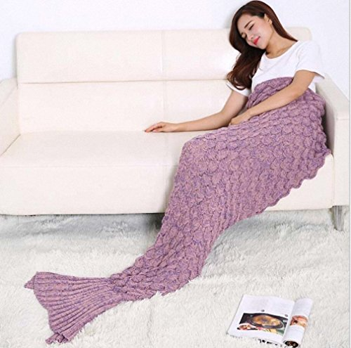 Hughapy® Mermaid Blanket with Scales Knitted Sleeping Bag Luxury Sofa Mermaid Tail Bed Snuggle Cozy for Adults Teens in 7 colors,Pink