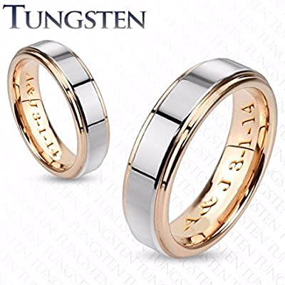 Personalized Two Tone Tungsten Couple's Ring Custom Engraved