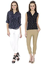Lilium Combo Pack Of Kendra Front Trim Blouse In Navy Multi Color With Sarah Frill Button Down  Blouse In Navy Multi Color