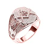 Mens Solid 14k Rose Gold Scottish Rite Masonic Ring