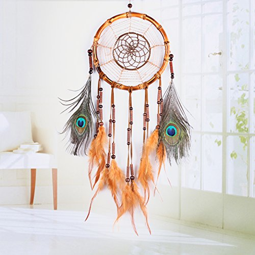 Ricdecor Handmade Indian Peacock Feathers Dream Catcher Wall Hanging Car Hanging Decoration Ornament 25.6 Inch Long (Dia 7