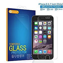 iPhone 6 4.7 Inch (Only) [Tempered Glass Screen Protector] F-color™ Premium Ballistic Glass Protector 9H Hardness Delicate Touch, Thin 0.3mm, 2.5D Round Edges,HD (High Definition),Anti-Shatter, Impact & Smudge Resistance,Oleophobic Coating, Anti-finger Silicone Adhensive Protector, Easy Install without Rainbow or Bubble.