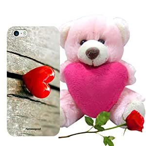 Valentine Gift Homesogood Love On The Edge Grey 3D Mobile Case For iPhone 5 / 5S (Back Cover) With Teddy & Red Rose