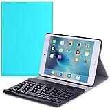 MoKo Apple iPad Mini 4 Case - Wireless Bluetooth Keyboard Cover Case for iPad Mini 4 (2015 edition) 7.9 inch iOS Tablet, Light BLUE