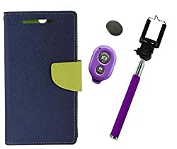 Novo Style Book Style Folio Wallet Case Micromax Canvas Selfie Lens Q345 Blue + Selfie Stick with Adjustable Phone Holder and Bluetooth Wireless Remote Shutter