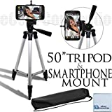 ECostConnection 50-Inch Aluminum Camera Tripod with Smartphone Mount and Microfiber Cleaning Cloth for Smartphones