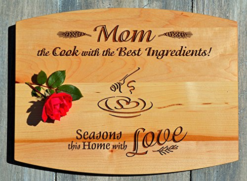 GIFT FOR MOM ~ Personalized Medium Maple Cutting Board w/ Free Stand ~ 2-Sided Design ~ Engraved Side Designed For Décor ~ Reverse Side For Usage W Juice Groove ~ Mother Birthday Gift Christmas Gift (Personalized For Mom compare prices)