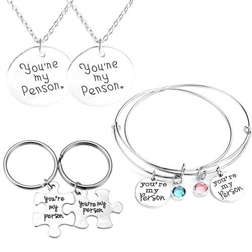 mikini Unisex Argento Retro Jewelry Set/6, con parole You Are My persona regolabile braccialetti e collane con ciondolo e portachiavi, per San Valentino Amici #1