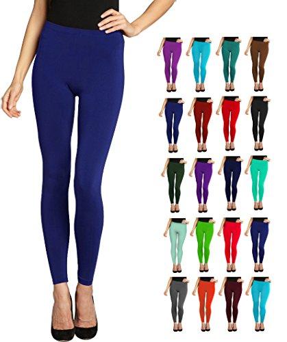 Lush Moda Seamless Full Length Leggings - Variety of Colors - Navy (Light Blue Leggings compare prices)