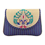 The Peacock Craft Womens Hand Bag peacock embroidery clutch (Blue)