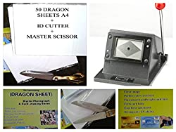 Dragon Sheet + ID Card Cutter + Heavy Scissor 50 sheets 1400 dpi hd 3 in 1 combo