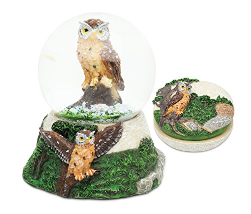 Puzzled Owl Resin Stone Collection Jewelry Box and Snow Globe - Unique Gift and Souvenir