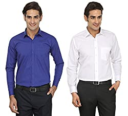 FOCIL Blue & White Formal Wear Combo Wear Shirt for Men (Pack of 2)