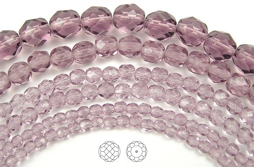 4mm (102) Light Amethyst, Czech Fire Polished Round Faceted Glass Beads, 16 inch strand