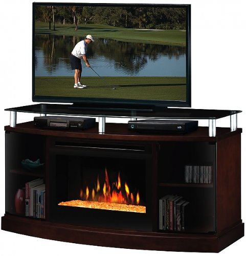 Dimplex Windham Flatpanel TV Stand and Electric Fireplace in Mocha - With Glass Ember Bed