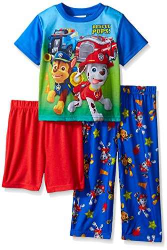 Paw Patrol Little Boys Marshall and Rocky Five-Star Safety Coverage 3-Piece Pajama Set Blue 4T