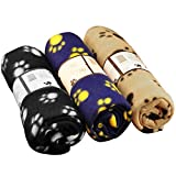 Rainbowee Set of Pet Small Dog Puppy Cat Blanket Fleece Bed Mat Cover with Paw Prints Assorted Color (3 Pieces)