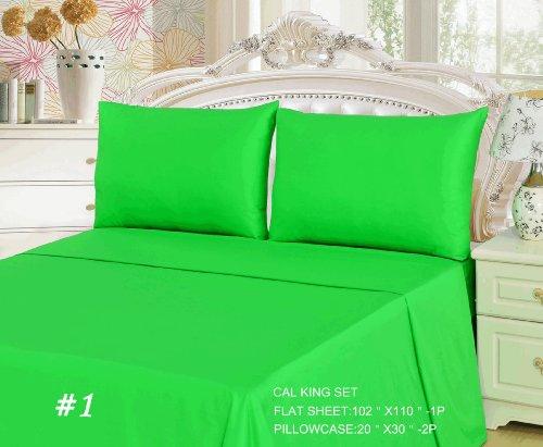 Tache 3 Piece Lime Green Flat Cal King Bed Sheet Set front-367703