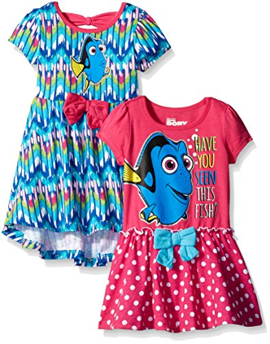 Disney Little Girls' Finding Dory Dresses Have You Seen This Fish, Blue, 4 (Pack of 2)