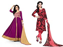 BanoRani Womens Combo of Magenta & Tomato Red Color Faux Georgette & PolyCotton Self Design & Printed Semi Stitched & Unstitched Dress Material