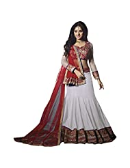 White And Red Georgette Fabric Designer Bridal Lehenga
