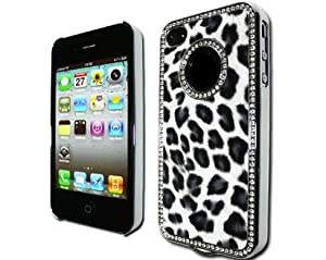 GNWE Luxury Unique Best Leopard Print Czech Rhinestone Case Cover for Apple Iphone 4 4g Crystal - Black