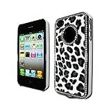 GNWE Luxury Unique Best Leopard Print Czech Rhinestone Case Cover for Apple Iphone 4 4g Crystal - Black ~ Bastexwireless